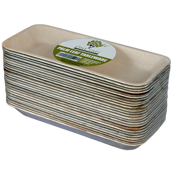 One Tree Palm Leaf Rectangle Plate - 260 x 110mm - 100 Pack