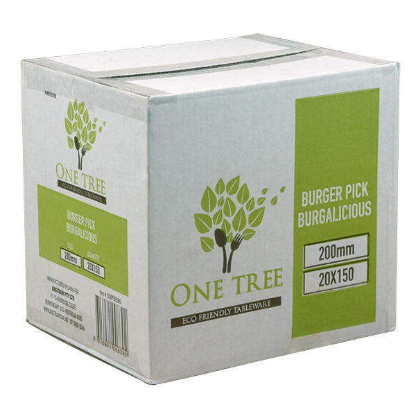 One Tree Burger Flag Pick - 3000 Pack (20x150) - Burgalicious - FSC 100%