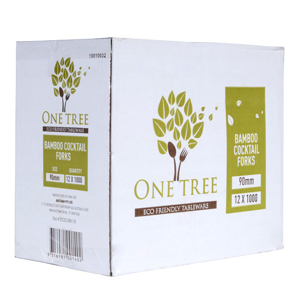 One Tree Bamboo Cocktail Fork - 12000 Pack (12x10x100) - FSC 100%