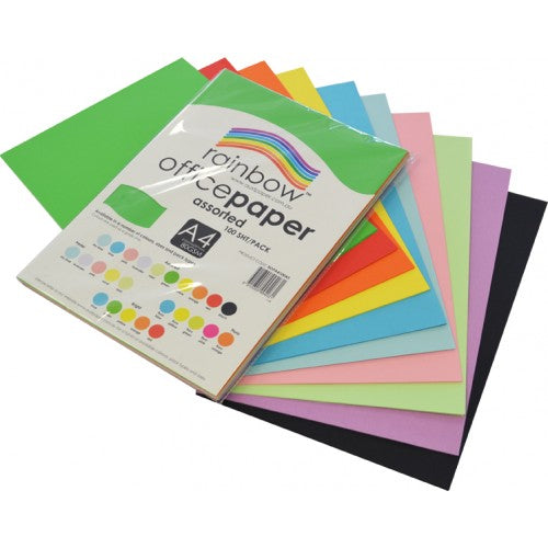 Rainbow Office Paper A4 80gsm 100 Sheets Assorted