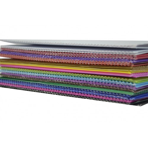 Rainbow Premium Corrugated Board Squares Double Sided 180mm 50 Sheets Per PVC Box Assorted