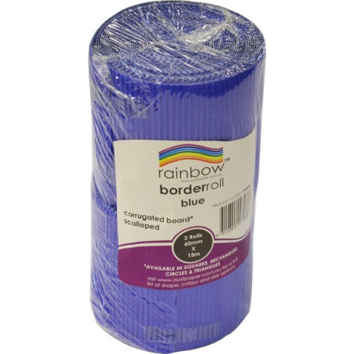 Rainbow Metallic Corrugated Scalloped Border Roll 60m X 15m (A Total Of 15m Once Split) Blue.