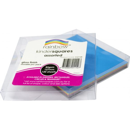 Rainbow Premium Glossy Paper Kinder Squares 84GSM Single Sided 127mm 120 Sheets Per PVC Box Assorted