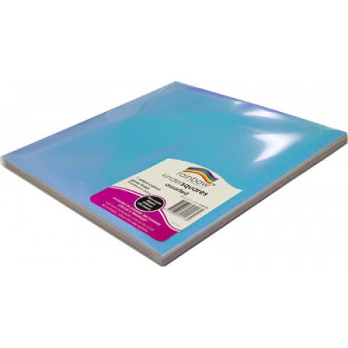 Rainbow Premium Glossy Paper Kinder Squares 84GSM Single Sided 254mm 120 Sheets Per PVC Box Assorted