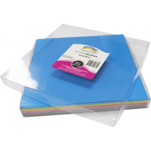 Rainbow Premium Glossy Paper Kinder Squares 84GSM Single Sided 254mm 360 Sheets Per PVC Box Assorted