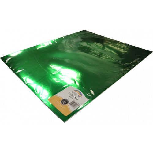 Rainbow Foil Board 270gsm 510mm X 630mm 20 Sheets Green