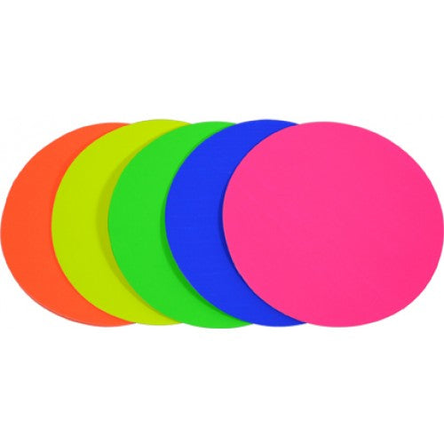 Rainbow Premium Fluro Paper Kinder Circles 85GSM Single Sided 180mm 100 Sheets Per PVC Box Assorted