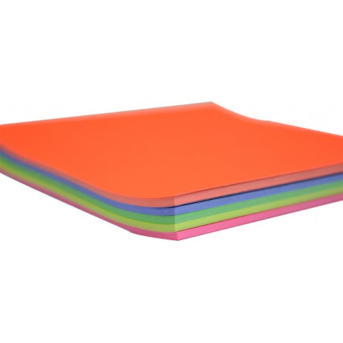 Rainbow Premium Fluro Paper Squares 85GSM Single Sided 250mm 100 Sheets Per PVC Box Assorted