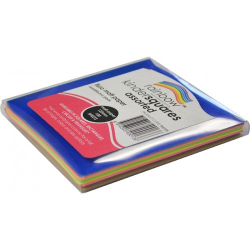 Rainbow Premium Fluro Paper Squares 85GSM Single Sided 125mm 100 Sheets Per PVC Box Assorted