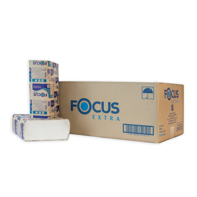 Focus Extra 2ply Z-Fold Paper Towel - 12 Packet x 200 Sheets