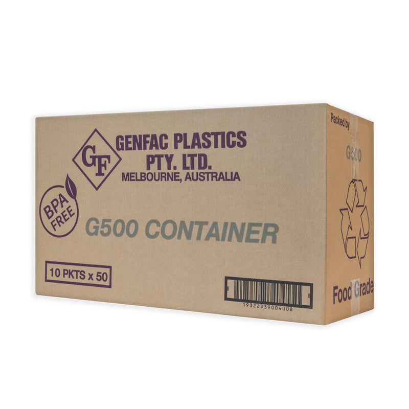 Genfac Plastic Rectangle Container (Microwaveable) 500ml