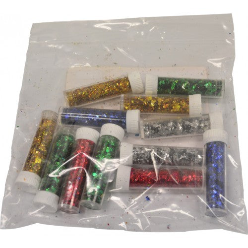 Rainbow Glitter Vials Assorted - 12 Pack