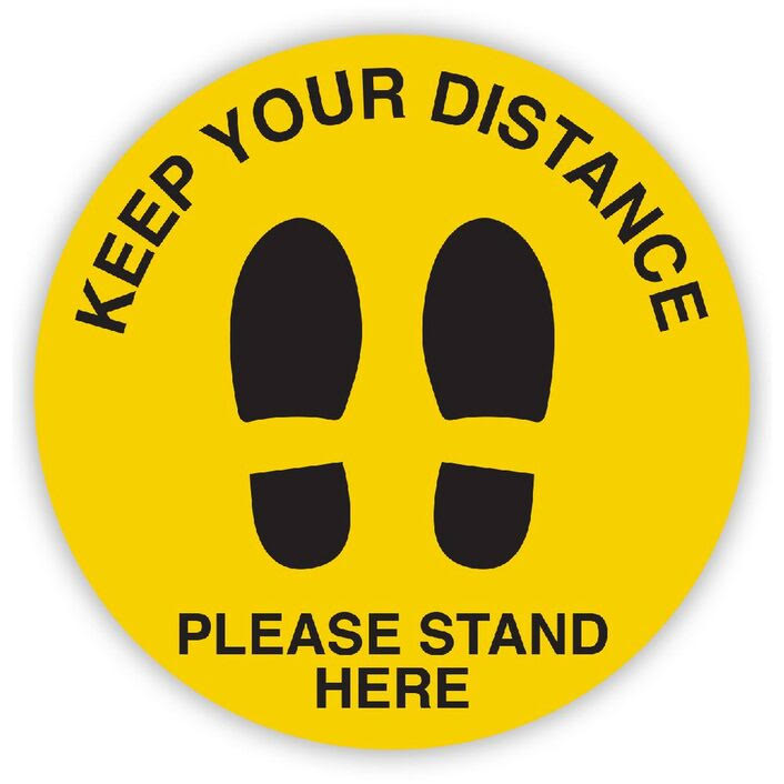 Workplace Safety Floor Sticker - 'Please Stand Here'