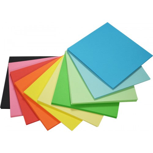 Rainbow Premium Matt Paper Kinder Squares 80gsm Double Sided 127mm 360 Sheets Per PVC Box Assorted