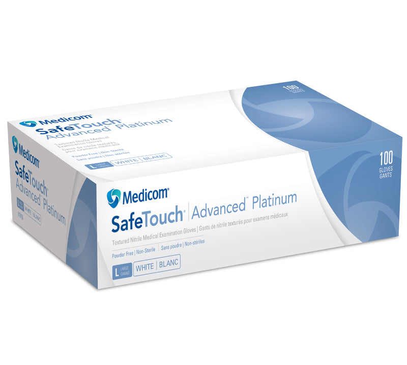 Medicom Safe Touch Advanced Platinum Nitrile Gloves Powder Free White 100 pcs