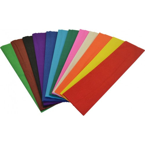 Rainbow Crepe Paper Mixed 500mm X 2.5m 12 Sheets Loose in One Single Bag Assorted