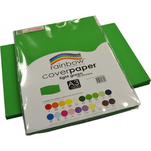 Rainbow Cover Paper A3 100 Sheets Light Green.cover paper Light Green
