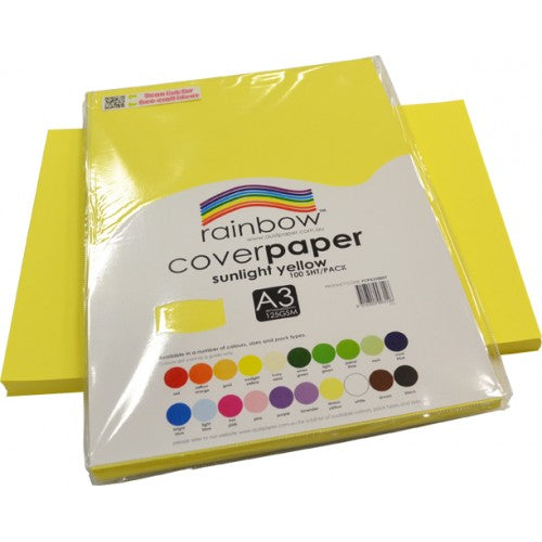 Rainbow A3 Cover Paper Sunlight Yellow 100 Sheets