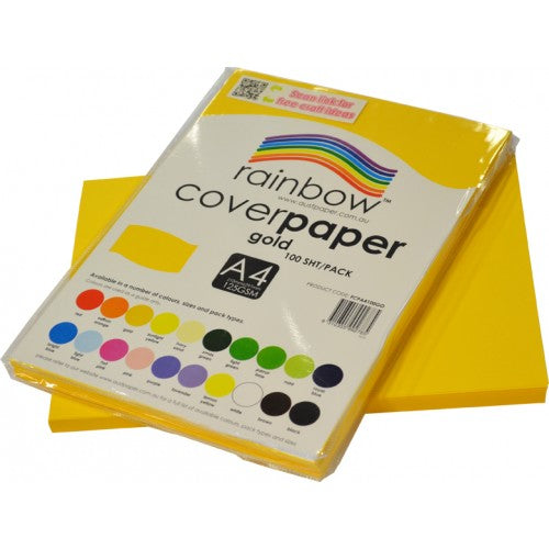 Rainbow Cover Paper A4 100 Sheets Gold.