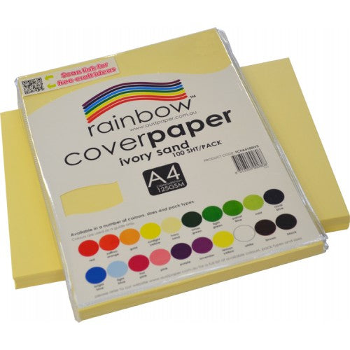 Rainbow A4 Cover Paper Ivory Sand 100 Sheets