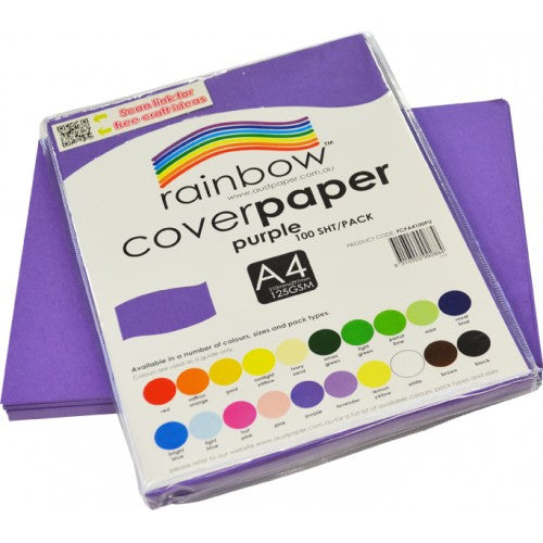 Rainbow Cover Paper 125gsm A4 100 Sheets Purple