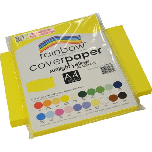 Rainbow Cover Paper 125gsm A4 100 Sheets Sunlight Yellow.cover paper