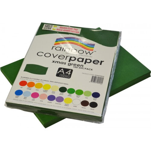 Rainbow A4 Cover Paper Xmas Green 100 Sheets