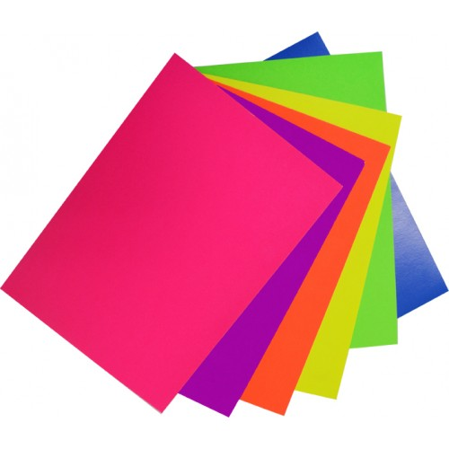 Rainbow Fluro Spectrum Board 200gsm 510mm X 640mm 12 Sheets Assorted