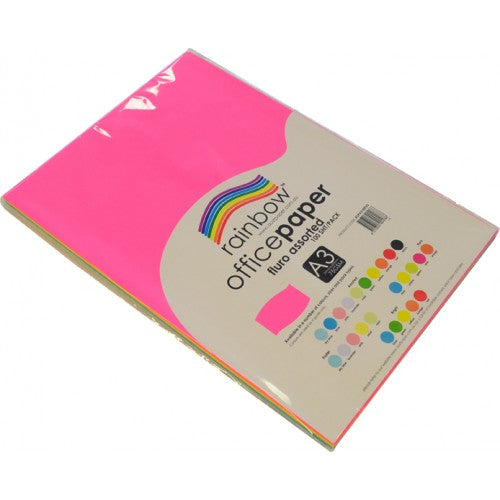 Rainbow Office Paper A3 80gsm 100 Sheets Fluro Assorted