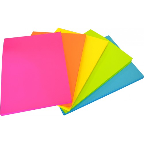 Rainbow Office Paper A4 80gsm 500 Sheets Fluro Assorted