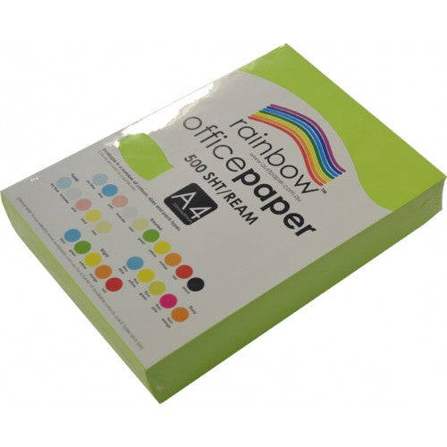 Rainbow Office Paper A4 80gsm 500 Sheets Fluro Green