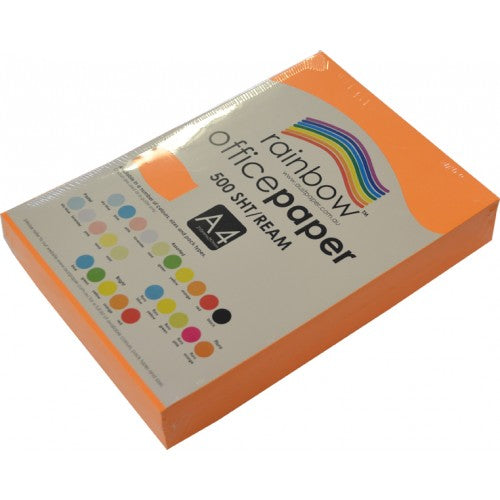 Rainbow Office Paper A4 80gsm 500 Sheets  Fluro Orange