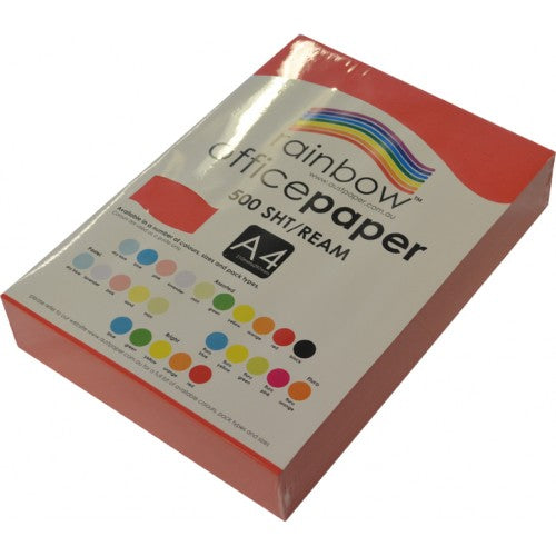 Rainbow Office Paper A4 80gsm 500 Sheets Red