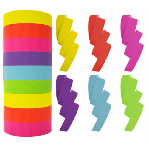 Rainbow Paper Streamers 14mm X 15m 9 Rolls 2 Sided Assorted Colours.