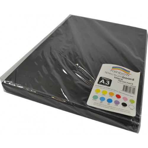 Rainbow Spectrum Board 200gsm A3 100 Sheets Black.