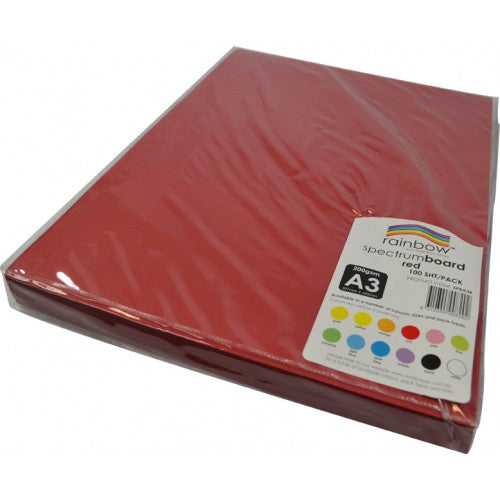 Rainbow Spectrum Board 200gsm A3 100 Sheets Red.