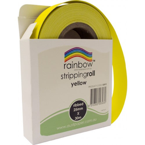 Rainbow Stripping Roll Ribbed 25mm X 30m Yellow