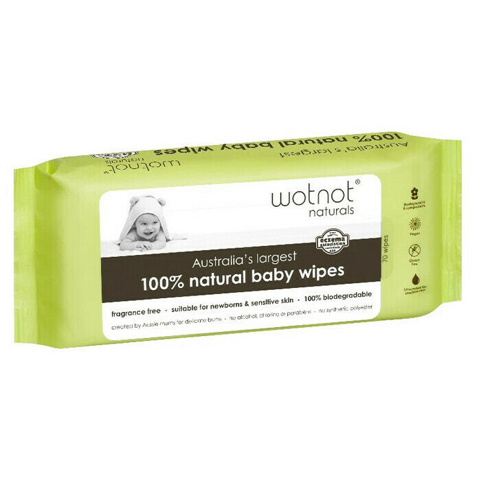 WOTNOT Biodegradable Natural Baby Wipes - 70pcs