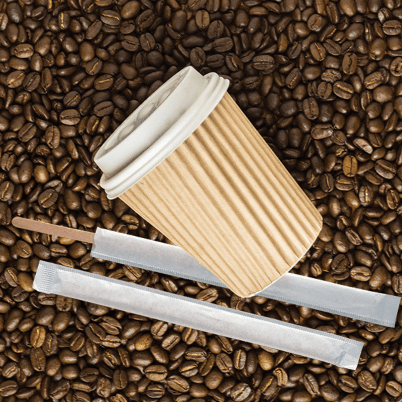 Wrapped Coffee Wood Stirrers 140mm x 6mm OR 114mm x 9mm 500pcs