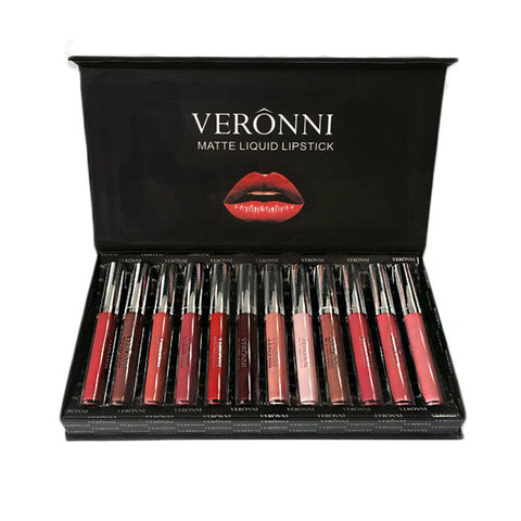 VERONNI 12 Colors Waterproof Long Lasting Matte Lipstick Makeup Set