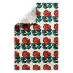 Camellia / Flame Red Linen Cotton Tea Towel