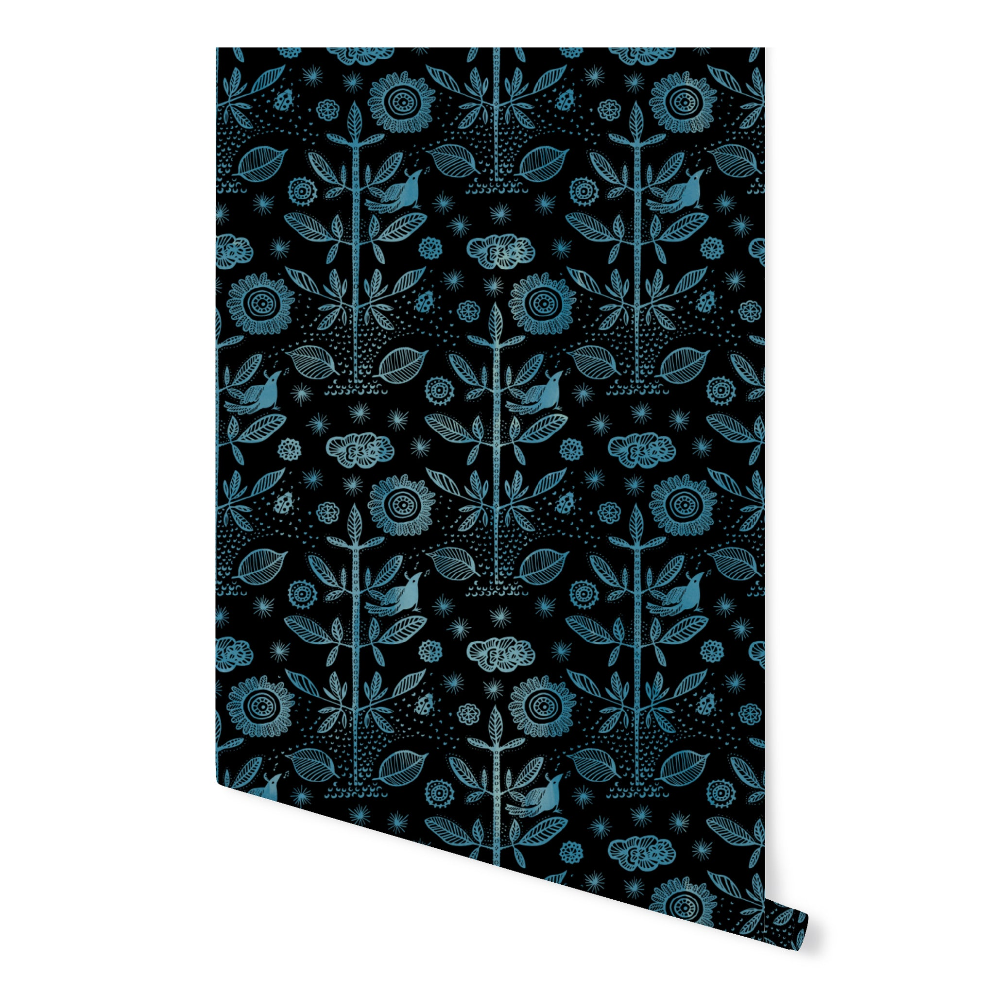 Good Fortune / Egyptian Blue Damask