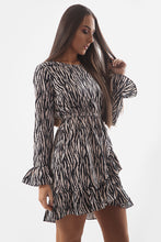 Load image into Gallery viewer, Beige Zebra Print Ruffle Dress - sonrisa-clothing-uk