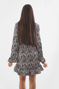 Beige Zebra Print Ruffle Dress - sonrisa-clothing-uk