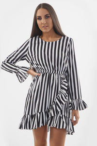Black White Striped Ruffle Dress - sonrisa-clothing-uk