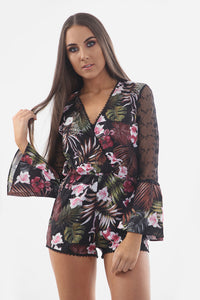 Floral Print Playsuit - sonrisa-clothing-uk