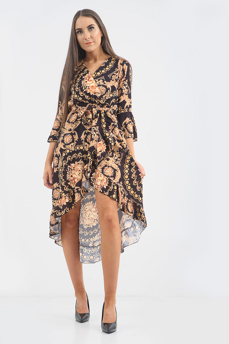 Gold Chain Belted Wrap Dress - sonrisa-clothing-uk