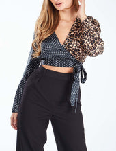 Load image into Gallery viewer, Wrapped Leopard Crop Blouse - sonrisa-clothing-uk