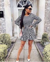 Load image into Gallery viewer, Black White Striped Ruffle Dress - sonrisa-clothing-uk