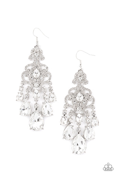 Queen Of All Things Sparkly White - Paparazzi Accessories EMP Exclusive Earrings